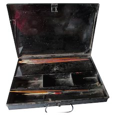 Antique 19thC Toleware Paint Box, Traveling Artist Box