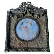 Antique French Miniature Painting of a Lovely Lady, Signed