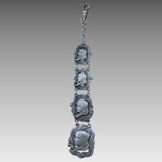 Antique Art Nouveau Sterling Silver Pocket Watch Fob with Ladies Faces