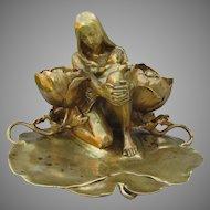Antique Art Nouveau Bronze Sculpture, Inkwell Charles Vital-Cornu, Paris, France