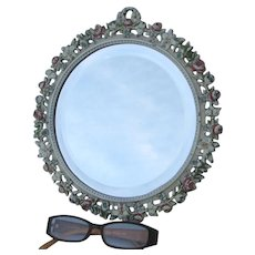 Pretty Antique Round Beveled Glass Mirror with Roses, Original Paint