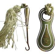 Antique Austrian Shoe Horn & Buttonhook, Flower Urn, Gulloche Enamel