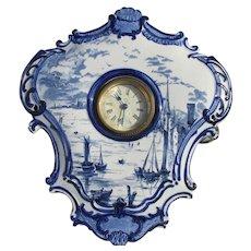 Antique Blue Transferware Clock, Delft Style, Empire Porcelain Co