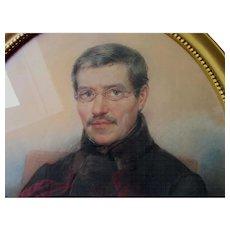 Antique c1857 Pastel Portrait of a Handsome Gentleman with Eyeglasses
