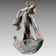 Lovely Antique Art Nouveau Bisque Figural Lady Wall Pocket