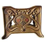 Antique Art Nouveau Playing Card Holder with Suit of Card Motif, Bronze