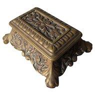 Pretty Antique Bronze Desk Top Stamp Box, Office Vanity Accessory