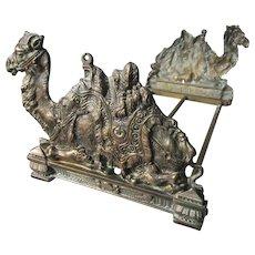 Antique Egyptian Revival Camel Expanding Bookends, Desk Accessory