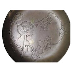 Antique Art Nouveau Bronze Tray with Lady & Poppy Flowers