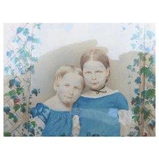 Charming c1870s Watercolor Portrait of Children & an Ivy Trellis