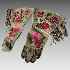 Pair Native American Indian Gauntlet Gloves with Embroidery
