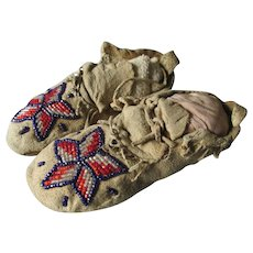 Native American Indian Beaded Baby Moccasins, Hand Made Ethnographic