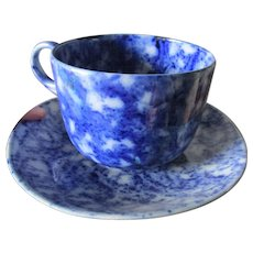 Whimsical Giant Flow Blue Spongeware, Flow Blue Cup & Saucer