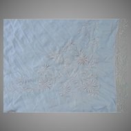 Antique Embroidered Silk Shawl, Piano Scarf with Bird & Flower Embroidery