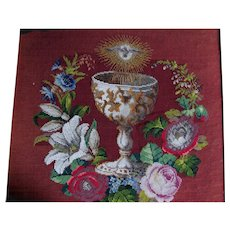 Antique French Beaded, Needlepoint Panel, Chalice, Dove, Flowers