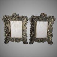 Pair Pretty Art Nouveau Picture Frames with Floral Motif