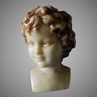 Lovely Antique Wax Bust of a Child, European Wax Sculpture