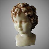 Lovely Antique Wax Bust of a Child, European Wax Sculpture