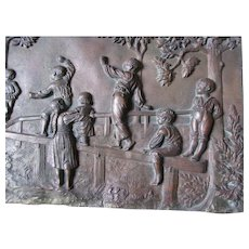 Charming Antique Victorian Plaque of Children Playing Outside