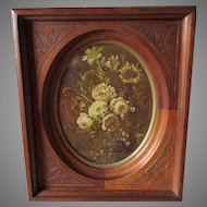Pretty Antique c1870s Hand Carved Walnut Wood Picture Frame, Old Glass