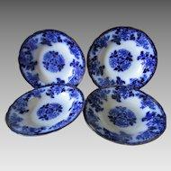 4 Antique Flow Blue Soup Bowls by Mercer of Trenton, NJ