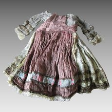 Pretty c1930 Silk Doll Dress with Metallic Lace, Elizabethan, Renaissance