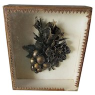 Antique French Shadowbox with Leather, Paper Mache Floral Bouquet