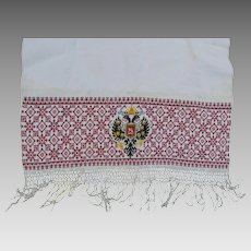 Antique Russian Linen Tablecloth, Towel with Nicholas II of Russia Monogram
