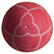Striking Hand Made Ethnographic Basket with Red & White Design