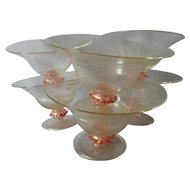 6 Antique Italian Venetian Serving Bowls, Sherbets with Gold Inclusions
