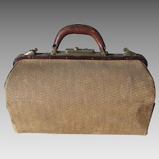 Rare Antique Wicker Medical Doctors Bag, Wicker Suitcase