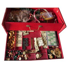 Antique c1870s French Game Box, Parlor Games, Board Games, Chess, Military, Bowling ++