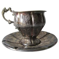Lovely c1850 French Silver Cup & Saucer with Hallmarks, LB & Minerva, 19th C