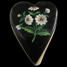 Antique Paper Mache Heart Sewing Pincushion with Daisy Flowers