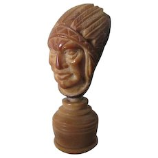Antique Hand Carved Coquilla Nut Native American Indian Cabinet Curiosity