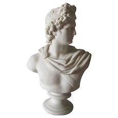 Antique Parian Porcelain Bust Apollo Belvedere, C Delpech, Greek Mythology