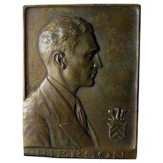 c1927 Bronze Plaque with Handsome Gentleman, Pierson Advertising