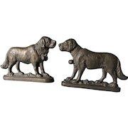 Pair Antique Saint Bernard Dog Doorstops, Cast Iron Mantle Garnitures