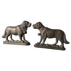 Pair Antique Saint Bernard Dog Doorstops, Cast Iron Mantle Garnitures