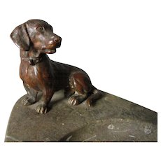 Antique Dachshund Dog, Bronze & Marble Vanity, Desk Tray