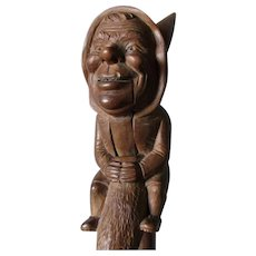 German Black Forest Nutcracker Gnome Sitting Tree Stump