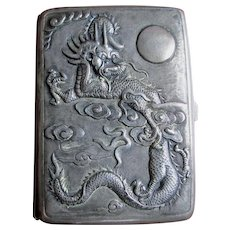 Antique Asian Cigarette, Card Case with Dragon, Chrysanthemum, Butterflies