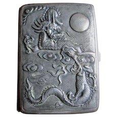 Antique Asian Cigarette, Card Case with Dragon, Chrysanthemum, Butterflies