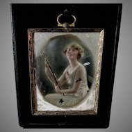 c1910s Opalotype Photograph of a Lovely Lady with Flute, Musical Instrument