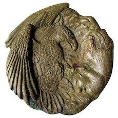 Antique Bald Eagle & Monkey Desk or Vanity Tray, Cast Brass