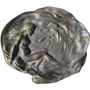 Art Nouveau Calling Card Tray with Nude Lady at Sea Shore, Desk, Vanity