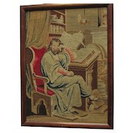 Antique 19thC Needlepoint of an Explorer, Scholar, Victorian Textile