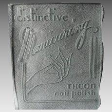c1930s Art Deco Glass Advertising Sign, Theon Nail Polish Manicuring, Cosmetics