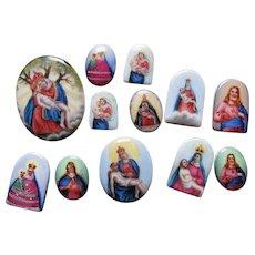 12 Tiny Austrian Miniature Porcelain Plaques, Christianity, Doll House