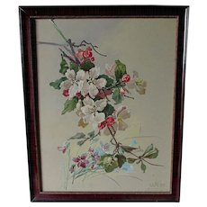Lovely Impressionistic Painting of Flowers, Signed WR '51
